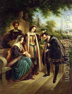 Queen Isabella and Columbus by Henry Nelson O'Neil - Reproduction Oil Painting