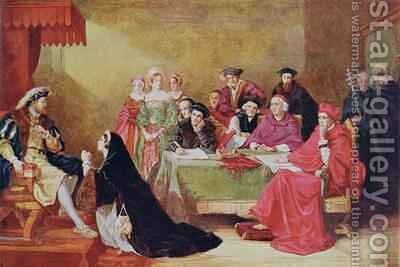 The Trial of Catherine of Aragon 1485-1536 illustration from Hutchinsons Story of the British Nation by Henry Nelson O'Neil - Reproduction Oil Painting