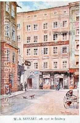 Postcard depicting the house in Salzburg where Wolfgang Amadeus Mozart 1756-91 was born 1912 by Hans Nowack - Reproduction Oil Painting