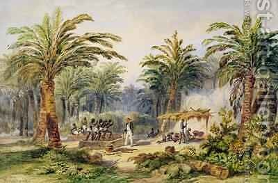 The Fabrication of Palm Oil at Whydah by Edouard Auguste Nousveaux - Reproduction Oil Painting