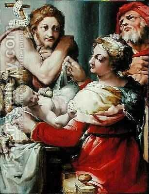The Holy Family with St John the Baptist 1553-8 by (Giovanni Frencesco Bezzi) Nosadella - Reproduction Oil Painting