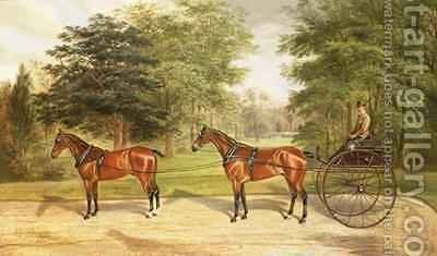 Two horses harnessed in tandem pulling a carriage 1883 by Benjamin Cam Norton - Reproduction Oil Painting