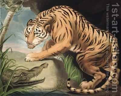 Tiger and Crocodile by James Northcote, R.A. - Reproduction Oil Painting