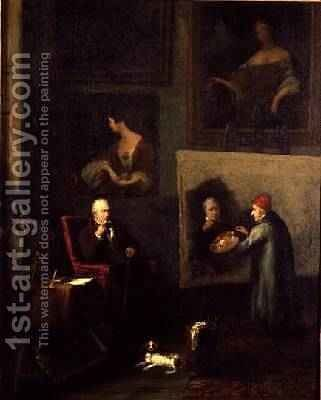 Self portrait of the artist painting Sir Walter Scott 1771-1832 by James Northcote, R.A. - Reproduction Oil Painting