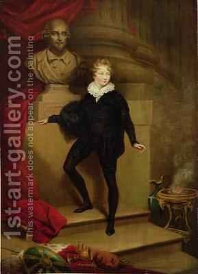 Master Betty as Hamlet before a bust of Shakespeare 1804-06 by James Northcote, R.A. - Reproduction Oil Painting