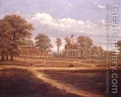 View across Clapham Common towards North Side and The Pavement 1878 by C. Norris - Reproduction Oil Painting