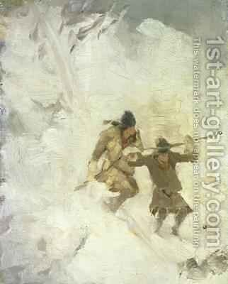 Two Skiing Lapps Study by Anna Nordlander - Reproduction Oil Painting