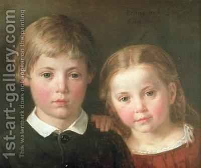 Benno six years and Elna four years 1864 by Bengt Nordenberg - Reproduction Oil Painting