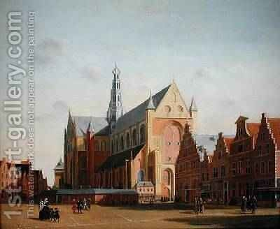 St Bavos Church and the Groote Market by Cornelius van Noorde - Reproduction Oil Painting
