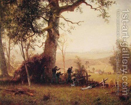Guerrilla Warfare: Picket Duty in Virginia by Albert Bierstadt - Reproduction Oil Painting