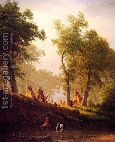 The Wolf River, Kansas by Albert Bierstadt - Reproduction Oil Painting