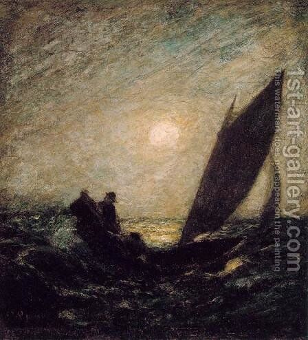 With Sloping Mast and Dipping Prow by Albert Pinkham Ryder - Reproduction Oil Painting