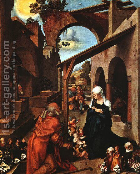 Nativity - Central Panel by Albrecht Durer - Reproduction Oil Painting