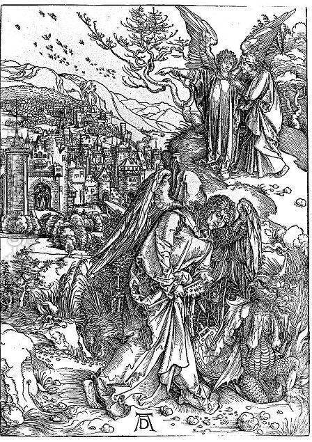 The Angel with the Key to the Pit by Albrecht Durer - Reproduction Oil Painting
