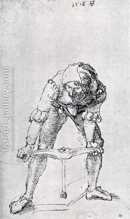 Young Man Leaning Forward And Working With A large Drill by Albrecht Durer - Reproduction Oil Painting
