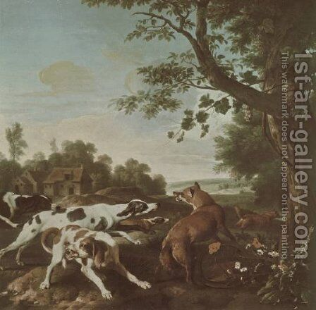 The Fox Hunt by Alexandre-Francois Desportes - Reproduction Oil Painting