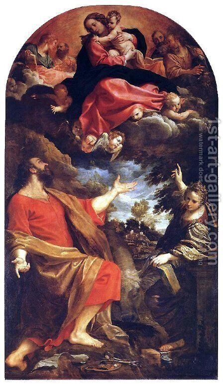 The Virgin Appears to St. Luke and Catherine by Annibale Carracci - Reproduction Oil Painting