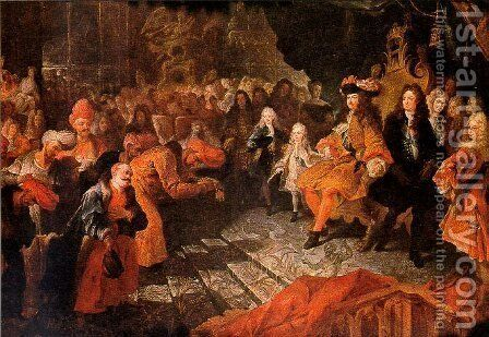 Louis XIV Receiving the Persian Ambassador by Antoine Coypel - Reproduction Oil Painting