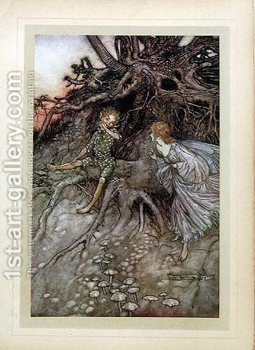 I am that merry wanderer of the night by Arthur Rackham - Reproduction Oil Painting