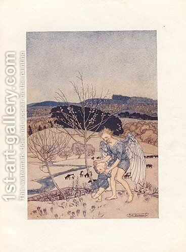 Love, laughing, leads the little feet a little way by Arthur Rackham - Reproduction Oil Painting