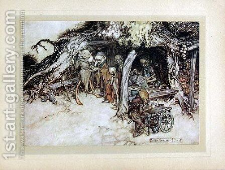 To make my small elves coats by Arthur Rackham - Reproduction Oil Painting
