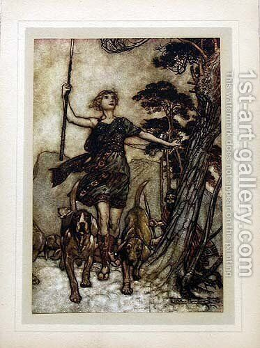 We will, fair queen, up to the mountains top... by Arthur Rackham - Reproduction Oil Painting