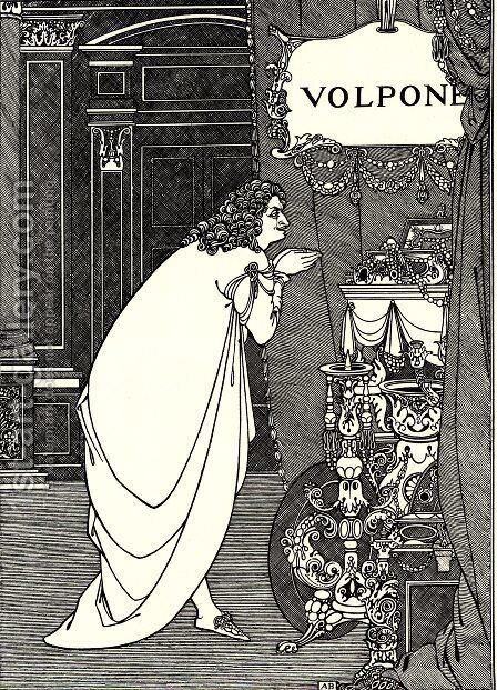 Volpone Adoring his Treasures by Aubrey Vincent Beardsley - Reproduction Oil Painting