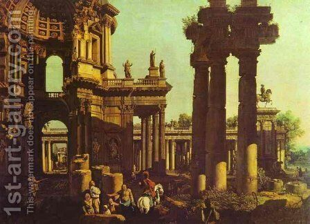 Ruins of a Temple by Bernardo Bellotto (Canaletto) - Reproduction Oil Painting