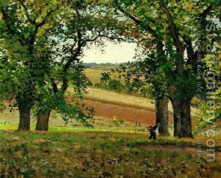 The Chestnut  Trees at Osny by Camille Pissarro - Reproduction Oil Painting