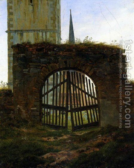 The Cemetery Gate (The Churchyard) by Caspar David Friedrich - Reproduction Oil Painting