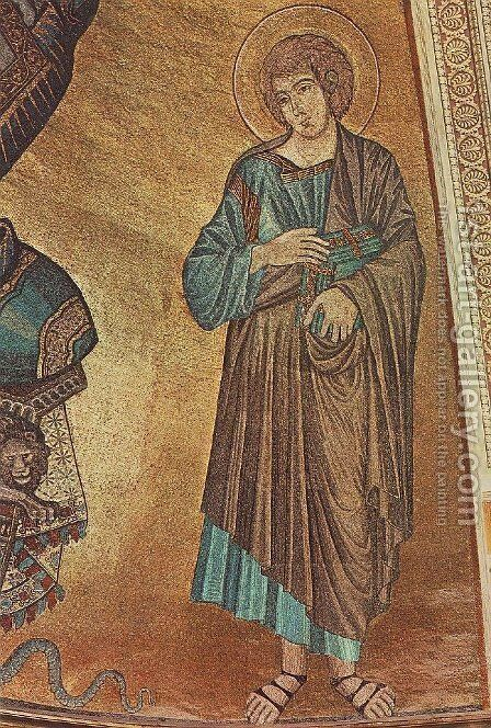 Christ Enthroned between the Virgin and St John the Evangelist by (Cenni Di Peppi) Cimabue - Reproduction Oil Painting