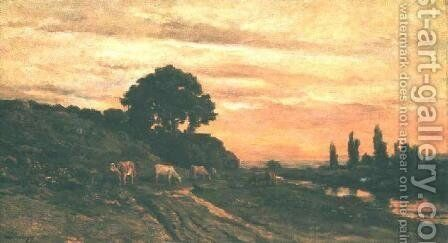 Landscape with Cattle by Charles-Francois Daubigny - Reproduction Oil Painting