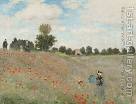 Field of Poppies by Claude Oscar Monet - Reproduction Oil Painting