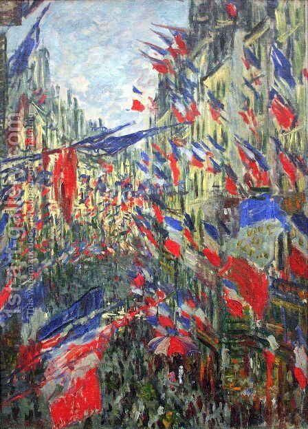 Rue Montargueil with Flags by Claude Oscar Monet - Reproduction Oil Painting