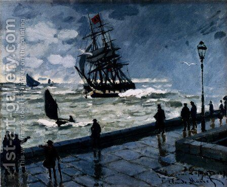 The Jetty At Le Havre, Bad Weather by Claude Oscar Monet - Reproduction Oil Painting