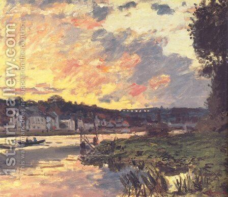The Seine at Bougival in the Evening by Claude Oscar Monet - Reproduction Oil Painting