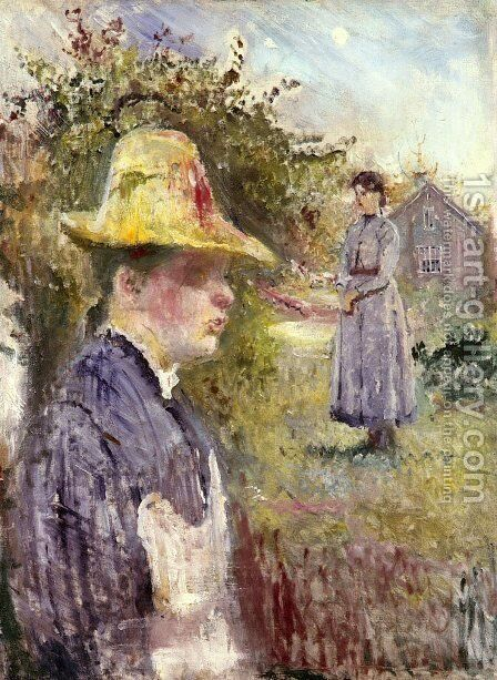 Sisters In The Garden by Edvard Munch - Reproduction Oil Painting