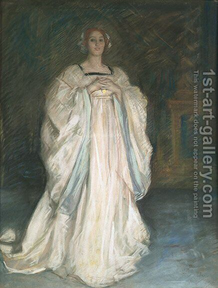 Woman in a White Dress by Edwin Austin Abbey - Reproduction Oil Painting