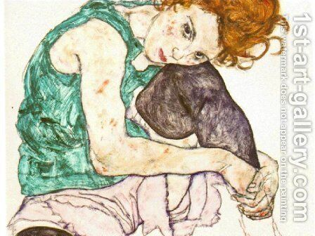 Sitting Woman with Legs Drawn Up by Egon Schiele - Reproduction Oil Painting