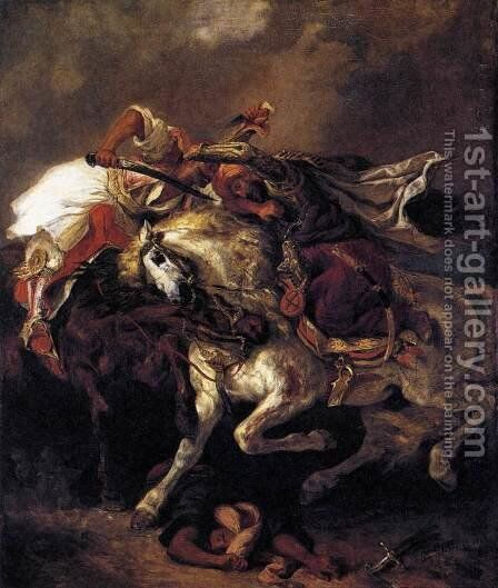 Combat of the Giaour and the Pasha by Eugene Delacroix - Reproduction Oil Painting
