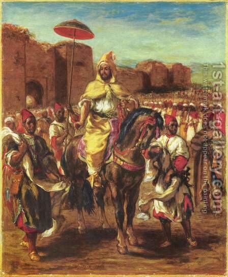 The Sultan of Morocco and his Entourage by Eugene Delacroix - Reproduction Oil Painting