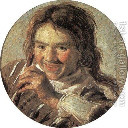 Boy holding a Flute (Hearing) by Frans Hals - Reproduction Oil Painting
