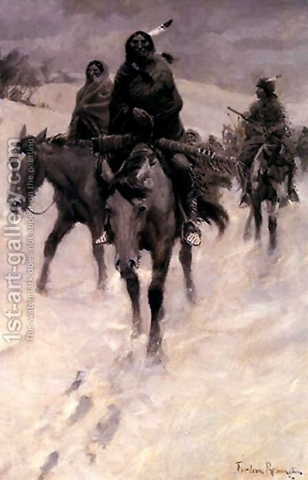 On the Trail by Frederic Remington - Reproduction Oil Painting