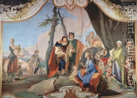 Rachel Hiding the Idols from her Father Laban by Giovanni Battista Tiepolo - Reproduction Oil Painting