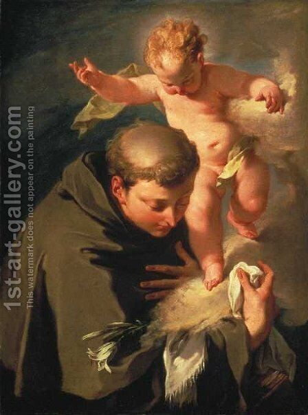 The Vision of Saint Anthony of Padua by Giovanni Battista Pittoni the younger - Reproduction Oil Painting
