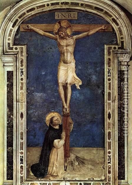 Saint Dominic Adoring the Crucifixion by Angelico Fra - Reproduction Oil Painting