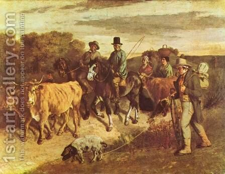 The Peasants of Flagey Returning from the Fair, Ornans by Gustave Courbet - Reproduction Oil Painting