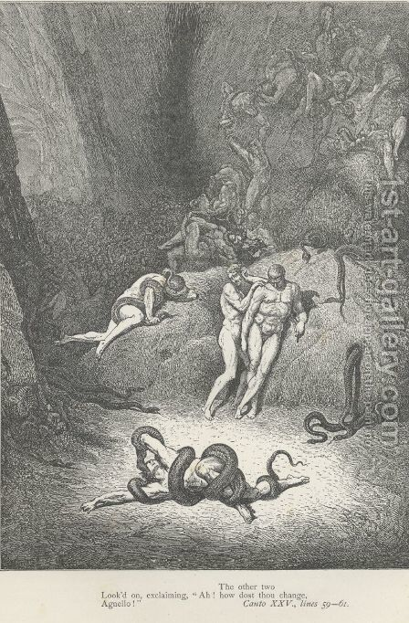 """""""Ah! how does thou change, Agnello!"""" (Canto XXV., lines 60-61) by Gustave Dore - Reproduction Oil Painting"""