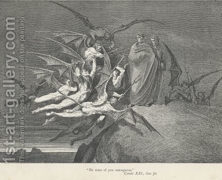 """""""Be none of you outrageous."""" (Canto XXI., line 70) by Gustave Dore - Reproduction Oil Painting"""