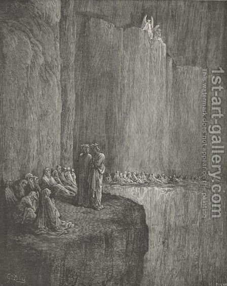 """He,"" answer'd I, ""who standeth mute beside me.   (Canto XIII., line 77) by Gustave Dore - Reproduction Oil Painting"
